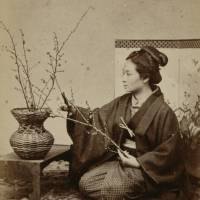 'Woman Arranging Plum Branches' (c.1863-1876), albumen print on display at the Tokyo Metropolitan Museum of Art from April 8)  Tokyo Metropolitan Museum of Photography