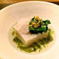 Soba-dōfu, buckwheat flour set into a small tofu-like cube that comes with a seasonal topping, is currently one of the omakase appetizers.  | ROBBIE SWINNERTON