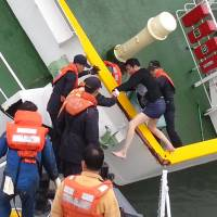Video shows trouserless captain fleeing ferry
