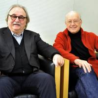 Enthroned: 'Lady Bess' creators Sylvester Levay (left) and Michael Kunze in Tokyo in February. | YOSHIAKI MIURA