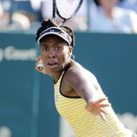 Hanging on: Venus Williams hits a shot during her win over Chanelle Scheepers at the Family Circle Cup on Wednesday. | AP