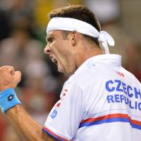 That was easy: Jiri Vesely of the Czech Republic reacts after winning a point against Japan's Taro Daniel on Sunday. | AFP-JIJI
