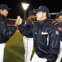 A better tomorrow: The Swallows' future may hinge on how well Yasuhiro Ogawa (29) and the rest of the pitching staff perform over the next several weeks. | KYODO
