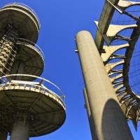 Space-age towers, topped by flying-saucerlike platforms and a ring of pillars that  that once housed the New York State Pavilion. | AP