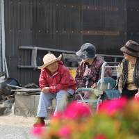 Revolutionaries: Elderly women chat as they sit by the side of a road on Gogo Island in Matsuyama, Ehime Prefecture. | BLOOMBERG
