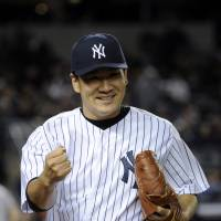 On the mound: New York Yankees pitcher Masahiro Tanaka reacts during a game at Yankee Stadium in New York on April 9.   AP