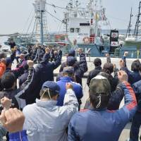 Local whalers prepare to depart Saturday from the port of Ayukawa in Miyagi Prefecture. | KYODO
