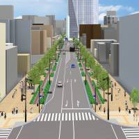 An illustration shows how the Shinbashi-Toranomon area might look after it is redeveloped. | TOKYO METROPOLITAN GOVERNMENT