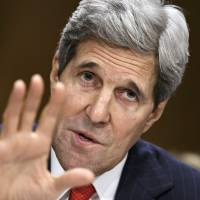 U.S. Secretary of State Kerry testifies before the Senate Foreign Relations Committee on Tuesday, addressing Iran and other diplomatic hot spots for Washington. | AP