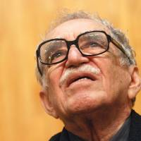 Nobel laureate Gabriel Garcia Marquez takes part in a discussion at the University of Guadalajara in Mexico in November 2007. Born in Colombia, Marquez died Thursday in Mexico at the age of 87. | AFP-JIJI