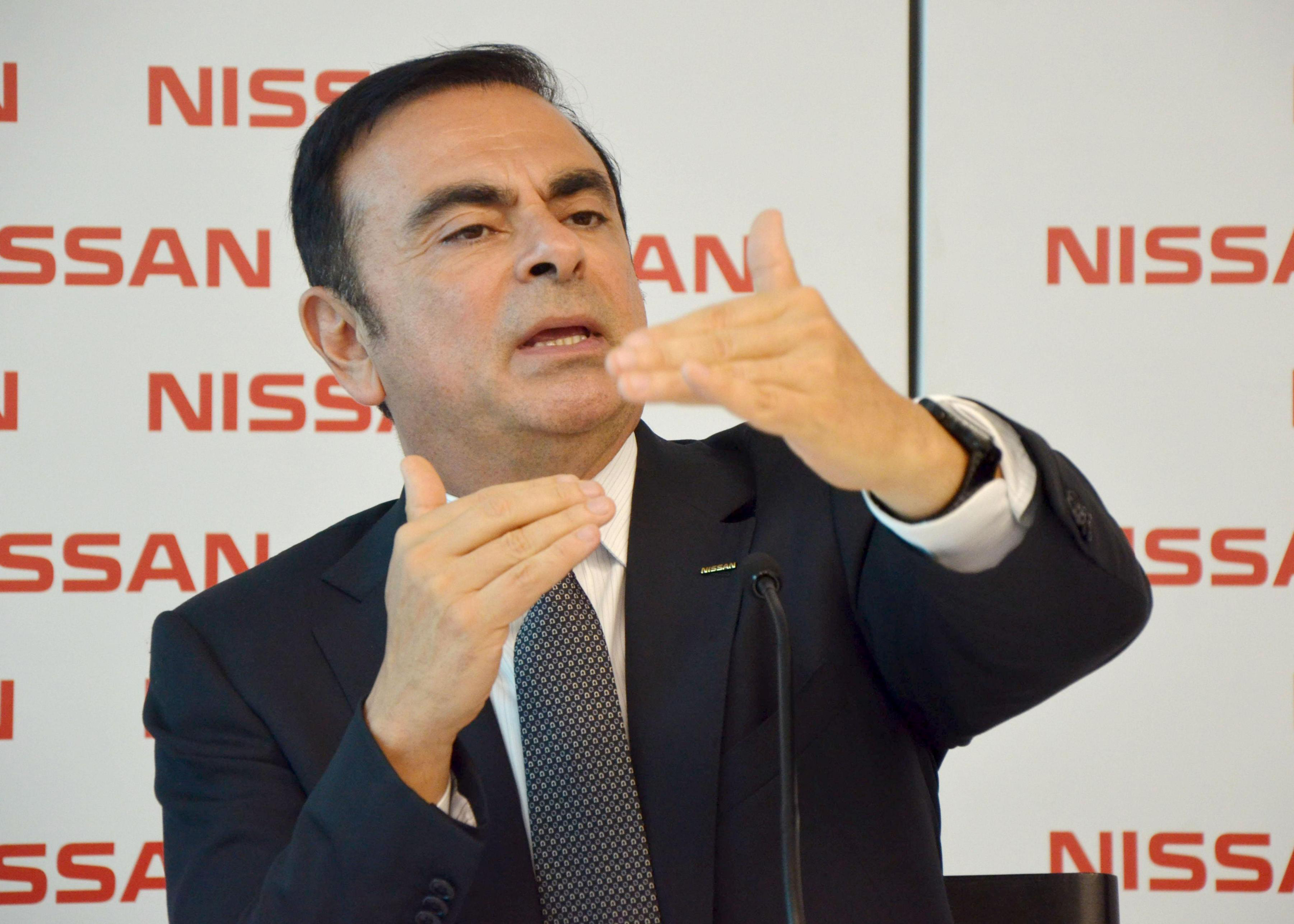 Nissan Motor Co. Chief Executive Officer Carlos Ghosn gestures during a news conference in Rio de Janeiro on Tuesday.   KYODO