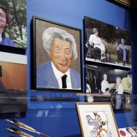 "A portrait of former Prime Minister Junichiro Koizumi, painted by former U.S. President George W. Bush, is displayed at ""The Art of Leadership: A President's Personal Diplomacy"" exhibit at the Bush Presidential Library in Dallas on Friday 