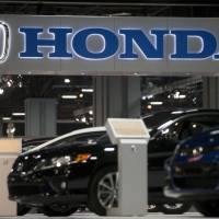 The Honda Motor Co. logo is displayed at the Washington Auto Show in January. | BLOOMBERG