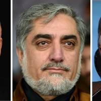 Ashraf Ghani Ahmadzai (left), Abdullah Abdullah (center) and Zalmai Rassoul are the three leading Afghan presidential candidates. | AFP-JIJI