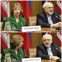 A combination of photographs shows European Union foreign policy chief Catherine Ashton (left) and Iranian Foreign Minister Mohammad Javad Zarif smiling as they wait for the start of talks in Vienna on April 8 involving Iran and six world powers over settling the dispute over Tehran's nuclear program. | REUTERS