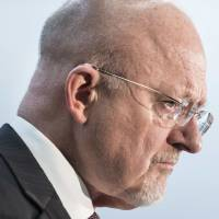U.S. Director of National Intelligence James Clapper pauses while speaking during a retirement ceremony at the National Security Agency in Fort Meade, Maryland, on Friday.   REUTERS