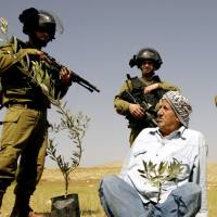 A Palestinian farmer is surrounded by Israeli soldiers after he planted olive trees near the West Bank town of Tubas to protest the closure of land to Palestinians by Israel on Tuesday. | AP
