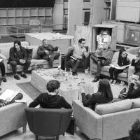 Director J.J. Abrams (top center in glasses) conducts a cast reading for 'Star Wars: Episode VII' at Pinewood Studios in Buckinghamshire on Tuesday. Clockwise from Abrams are Harrison Ford, Daisy Ridley, Carrie Fisher, Peter Mayhew, Producer Bryan Burk, Lucasfilm President and Producer Kathleen Kennedy, Domhnall Gleeson, Anthony Daniels, Mark Hamill, Andy Serkis, Oscar Isaac, John Boyega, Adam Driver and writer Lawrence Kasdan. | REUTERS