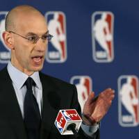 NBA commissioner Adam Silver addresses the media in New York on Tuesday.   AP