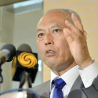 Tokyo Gov. Yoichi Masuzoe attends a news conference Saturday in Beijing after meeting with Chinese Vice Premier Wang Yang earlier in the day. | KYODO