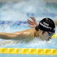 Raise the bar: Kosuke Hagino competes in the 200-meter individual medley at the national championships in Tokyo on Saturday. | KYODO