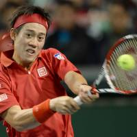 Big loss: Japan No. 1 Kei Nishikori will miss his country's David Cup quarterfinal against the Czech Republic this weekend because of injury. | AFP-JIJI