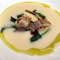Onion soup with home-cured bacon and fresh new-potato gnocchi   ROBBIE SWINNERTON