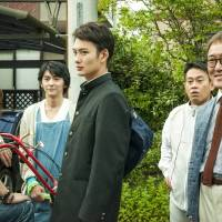 Pleasures of a big family: Yukio (played by 24-year-old Masaki Okada) with his four eccentric dads in the new comedy 'Oh! Father.'   © 2014 YOSHIMOTO KOGYO
