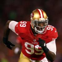 Taking the rap: San Francisco 49ers linebacker Aldon Smith pleaded no contest to multiple weapons and driving under the influence charges on Wednesday in San Jose, California. | AP