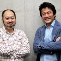 Making history: Shintaro Mori (far left) and Seiyou Uchino, respectively the director and star of 'The Big Fellah,' which looks set to become a landmark of Japan's 2014 theater world. | YOSHIAKI MIURA