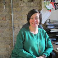 Top table: Vicky Featherstone pictured during her JT interview in her office at the Royal Court Theatre.   NOBUKO TANAKA
