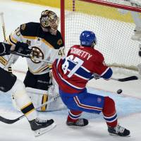 Open door: Max Pacioretty scores past Boston's Tuukka Rask in the second period of Game 7 on Wednesday. | AP