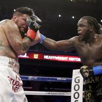 Power and balance: Bermane Stiverne (right) hits Chris Arreola during their rematch for the WBC heavyweight boxing title in Los Angeles on Saturday   AP
