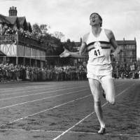 One for the ages: Roger Bannister breaks the tape in 3 minutes, 59.4 seconds on May 6, 1954, in Oxford, England, to become the first man to run the mile in under 4 minutes. | AP