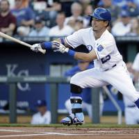 Two-hit night: Kansas City's Norichika Aoki singles against Chicago in the first inning on Monday. The White Sox edged the Royals 7-6. | AP
