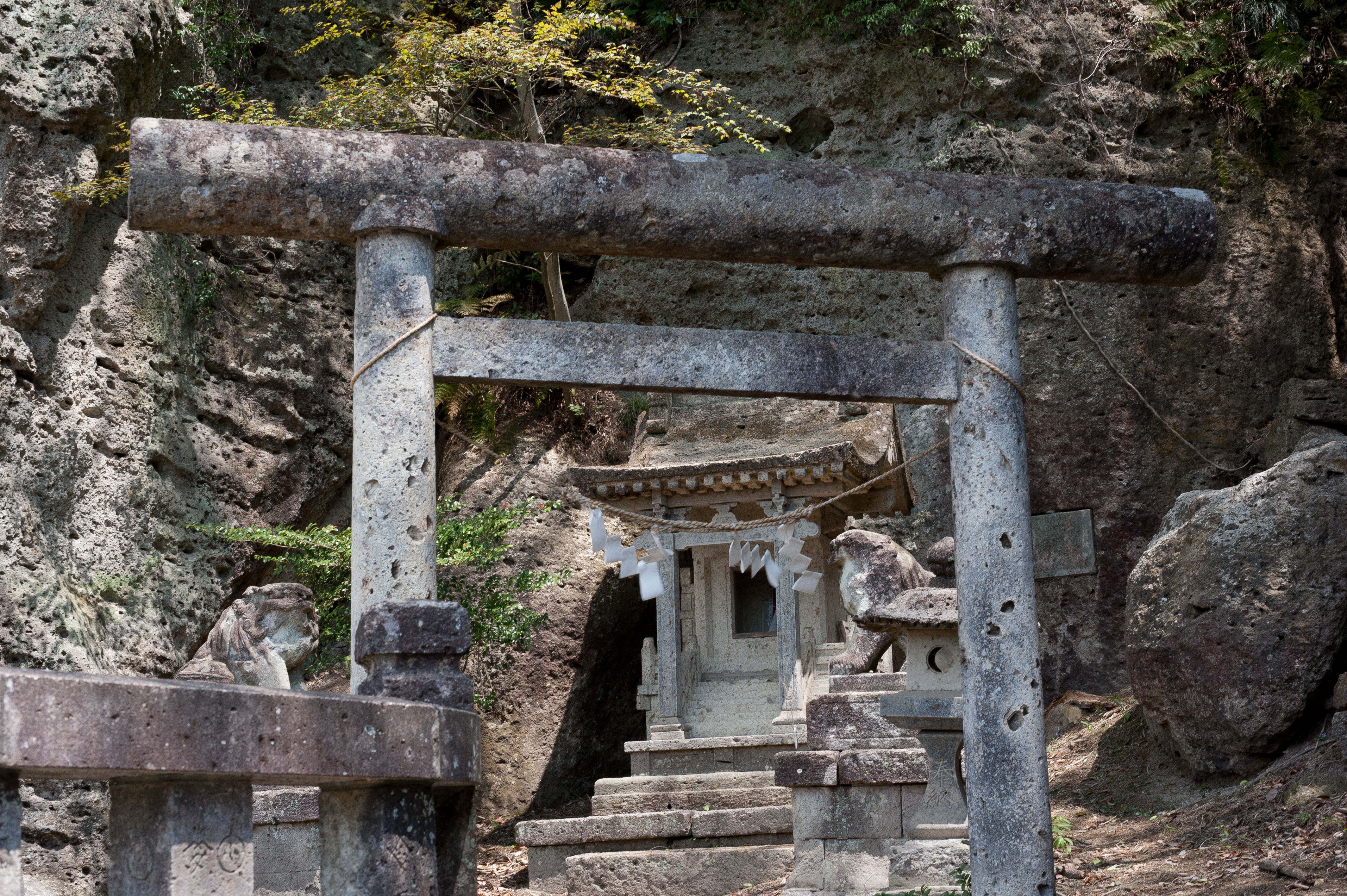Every detail of this shrine, including the rock face it is built into, is made of Oya stone. | STEPHEN MANSFIELD
