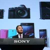 At the helm: Kazuo Hirai, president and chief executive officer of Sony Corp., speaks at a news conference May 22. | BLOOMBERG