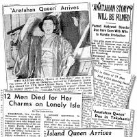 Media frenzy: Clippings from The Nippon Times (now The Japan Times) report on the strange tale of Kazuko Higa, which has recently been dramatized in Kaoru Ohno's novel 'Cage on the Sea.'