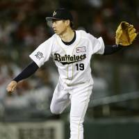 Knocking on the door: Buffaloes pitcher Chihiro Kaneko has gotten off to a strong start this season. | KYODO