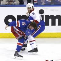 No holds barred: The Rangers and Canadiens will pick up their Eastern Conference finals series on Sunday with New York leading 2-1. | AP