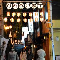 Nonbei Yokocho, an alley filled with several traditional pubs and yakitori eateries beside the Yamanote Line, is another popular drinking and eating place in Shibuya. | SATOKO KAWASAKI