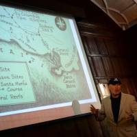 Barry Clifford says at a New York news conference Wednesday that there is compelling evidence for a shipwreck being that of Christopher Columbus' ship the Santa Maria, which ran aground off the northern coast of Haiti. | AFP-JIJI