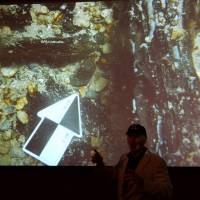 Barry Clifford shows an image of what he believes is wreckage from the Santa Maria on Wednesday in New York. | AFP-JIJI