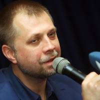 Aleksandr Borodai speaks during a news conference in the eastern Ukrainian city of Donetsk on Saturday. | AFP-JIJI