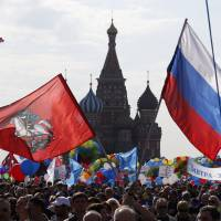 Soviet echoes in Red Square rally