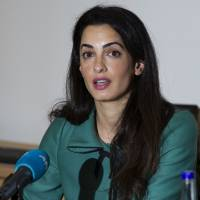 Lawyer Amal Alamuddin speaks during a news conference in London in November 2012. | AFP-JIJI