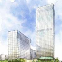 An artist's rendition shows how the venerable Hotel Okura Tokyo might look like after it is rebuilt by the end of February 2019. | KYODO