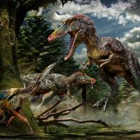 Two Qianzhousaurus sinensis hunt in this illustration. | REUTERS