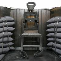The chamber for execution by firing squad at the Utah State Prison in Draper is displayed in June 2010.   AP