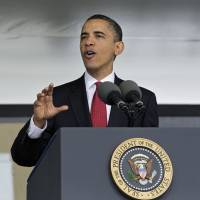 President Barack Obama, who will this week outline a foreign policy vision combining diplomacy and a strong military, addresses graduates of the U.S. Military Academy in May 2010 in West Point, New York. Obama will unveil his strategy at the academy on Wednesday. | AP